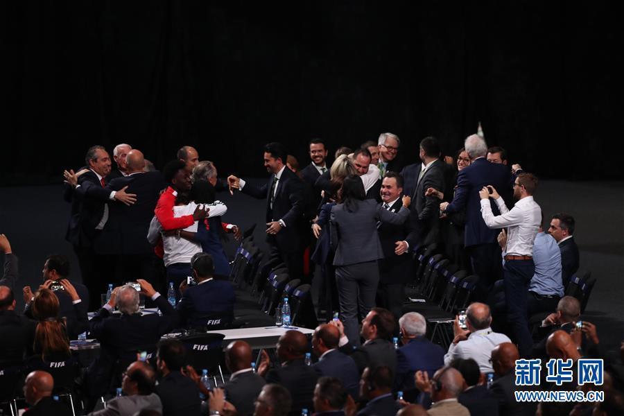 (世界盃)(1)足球——加拿大、墨西哥、美國聯合申辦2026年世界盃成功