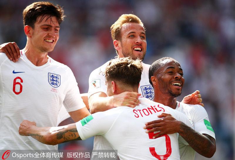 2018年6月24日,俄羅斯世界盃小組賽第二輪,英格蘭6-1大勝巴拿馬。圖為英格蘭隊員慶祝進球。