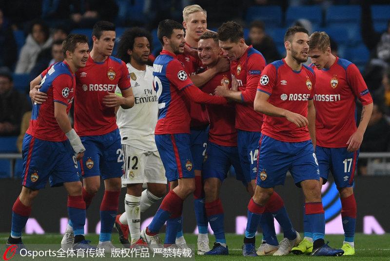 欧冠-阿森西奥击中横梁 皇马0-3负莫斯科中央陆军惨遭