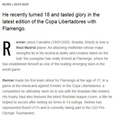 弗里欧官网_皇马3000万欧引入18岁巴西新星雷尼尔 暂不随队出战-中工体育-中工网
